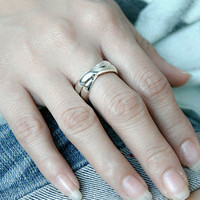 Twin Ring (curve) Stripe Silver Ring Sterling Ring .925 Silver Ring Personalized Ring