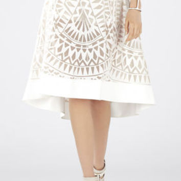 White BCBG Keary Burnout Lace Skirt