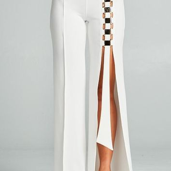 Avery Buckle Accent Split Leg Pants