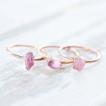 Tourmaline ring - Pink tourmaline ring - Stacking ring - Rough tourmaline ring - Raw tourmaline ring - Crystal ring