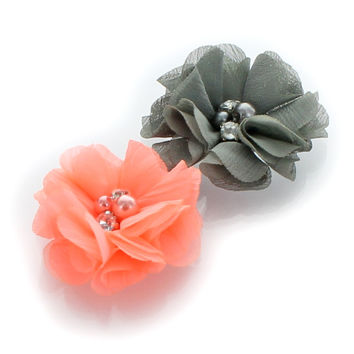 Chiffon Beaded Hair Flower Clip Pair