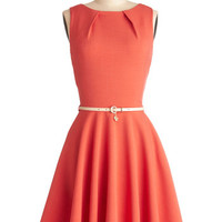 Closet Mid-length Sleeveless Fit & Flare Luck Be a Lady Dress in Coral