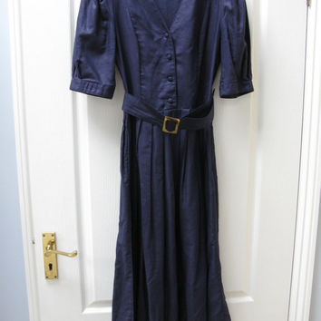 Laura Ashley Dress - Vintage Laura Ashley Dress - Navy Linen Tea Dress - UK size 10 - 1940s style clothing - 1980s clothing - Tea Dance