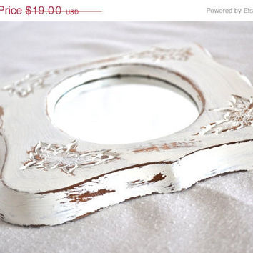 ON SALE White French Shabby Chic Wooden Oval Distressed Mirror