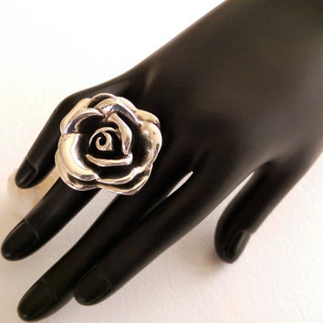 Giant Sterling Silver Rose Ring ~ Size 7.75 - 8 ~ Statement Ring