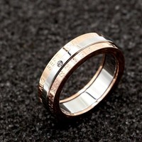 Classic Design Rotation Calendar and Date Ring Titanium Steel High Quality Rose Color Middle Silver Brand Ring Woman Jewelry