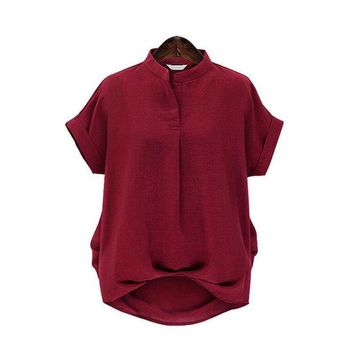 Casual Loose Tops Summer Tops Short Sleeve Stand Collar Shirt Solid Color Plus Size Women Blouses feminines