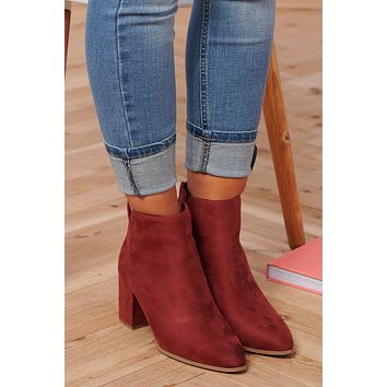 Come Back To Me Faux Suede Booties (Rust)
