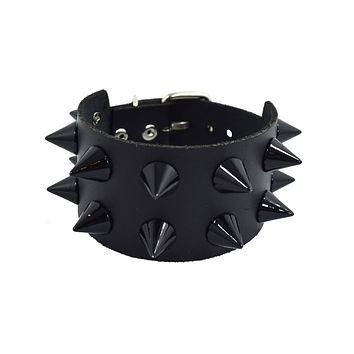 Gothic Emo Grunge Punk Rock Wide Leather Spiked Bracelet