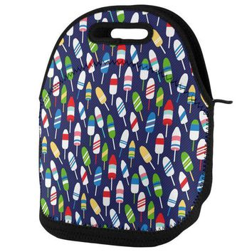 PEAPGQ9 Summer Sun Buoy Bouys Repeat Pattern Navy Lunch Tote Bag