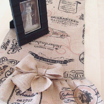 Shabby Chic Printed Burlap Ruffled Table Runner  60x14