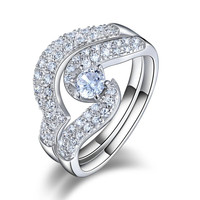 ORSA Charming Platinum Plated with 0.25ct Zircon and Micro CZ Paved Women Wedding Ring Set,2 Pieces OR49