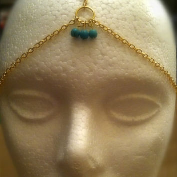 Gold hair chains, gypsy headpiece, gold and turquoise headdress. Head chains, hair jewelry, hippie boho hair chains. Bridal hair jewelry.