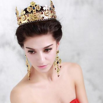 Queen King Cross Crown Pearl Gold Cosplay Party Wedding Hair Accessories