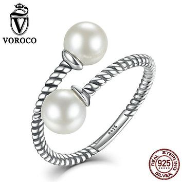 VOROCO Freshwater Pearl Beads 925 Sterling Silver Elegant Twist Open Adjustable Rings for Woman Wedding Fine Jewelry VSR017