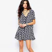 Dark Blue Floral Print V-Neck Dress