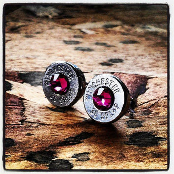 Bullet Stud Earrings- Gunpowder and Glitz- Silver and Fuchsia