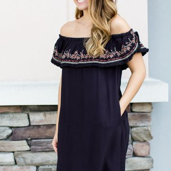 Midnight Embroidered Dress - Black