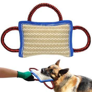 Jute Dog Bite Pillow Dogs Training Playing Toys Pet Chewing Teeth Cleaning Interactive For Police K9 Schutzhund With 2 Handles