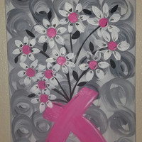 "Hand painted wood framed canvas - 12""x24"" - Breast Cancer Survivor"
