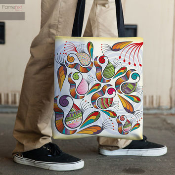 Tote Bag. Indian Paisley 15x15 Double sided print All purpose Bag a book bag a grocery bag