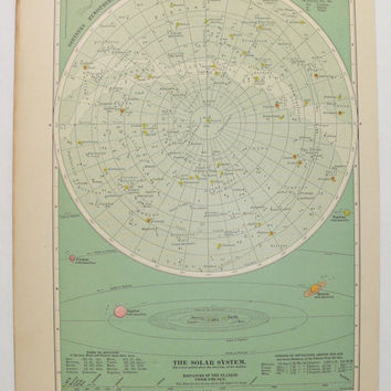 Antique Star Map, Vintage Space Print 1899 Old Celestial Print, Zodiac Art, Solar System Print, Constellations, Unique Guy Gift Under 30