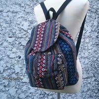 Aztec Backpack Boho Tribal Woven Hippies Ikat Tapestry Ethnic Bags Purse Rucksack Tote Hobo Gypsy Nepali Pattern Native Design School Chic
