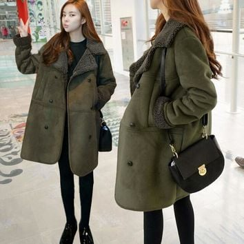 Women Long Sleeve Lambswool Suede Winter Warm Thick Long Plus Coat Jacket