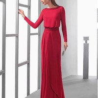 [108.99] Glamorous Chiffon Bateau Neckline Sheath Evening Dresses With Beaded Lace Appliques - dressilyme.com