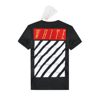 Off White Stripes Short Sleeve Couple T-shirts [10262358995]
