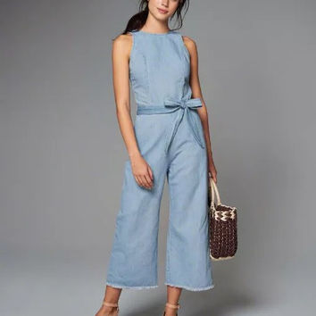 Blue Sleeveless Oped Back Top With Tie Waist Trousers
