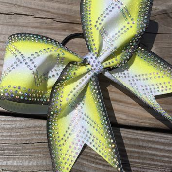 Yellow ombre glitter bow with AB rhinestones