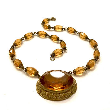 Art Deco Amber Czech Glass Choker Necklace, Large Faceted Center Stone, Amber Crystal Bead Chain, Gilt Filigree Bead Caps, Gift for Her