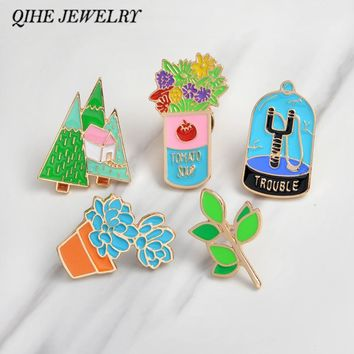 Enamel pins Flower tree leaves succulent plants slingshot brooches Plant pins Plant jewelry Cloth accessories