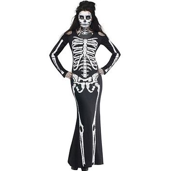 Long Skeleton Dress Adult Halloween Costume