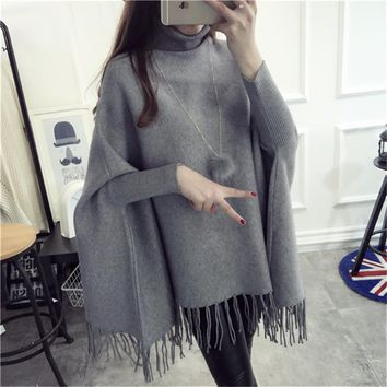 Turtleneck Sweater Pullover Women 2016 New Autumn and Winter loose Shawl Tassel Sweater Poncho Coat Female Sueter Mujer LH396