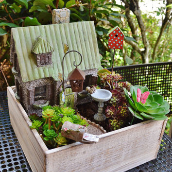 Garden House Planter ~ Wooden Box Set ~ Garden Kit ~ Cottage ~ Birdhouse ~ Birdbath ~ Plants and Soil Not Included ~ Gift ~ LIMITED Edition
