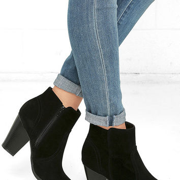 Aubrey Black Suede Ankle Booties
