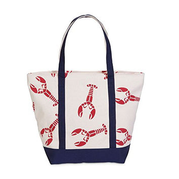 Lobster on Natural Fabric Beach Tote Bag