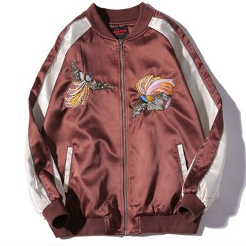 Autumn and winter new wave of licensing jacket jacket zipper heavy embroidery bilateral Phoenix Men baseball clothing