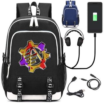 University College Backpack Game Fortnite  Canvas Rucksack with USB Charging Port knapsack Headphone interface  Student Laptop school bagAT_63_4