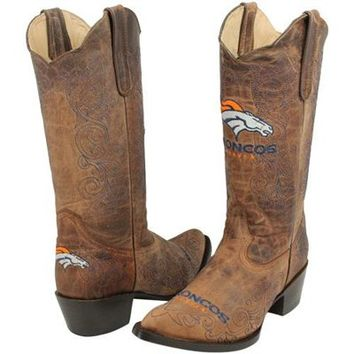Denver Broncos Womens Embroidered Cowboy Boots - Brown