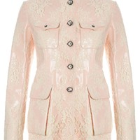 Pink Patent Leather Lace Jacket | Huishan Zhang | Avenue32