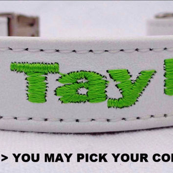 "Dog Collar: Leather w/ Nylon Webbing - 3/4"" Wide - Personalized - Non-Adjustable (Sizes 11-14) Example 1"