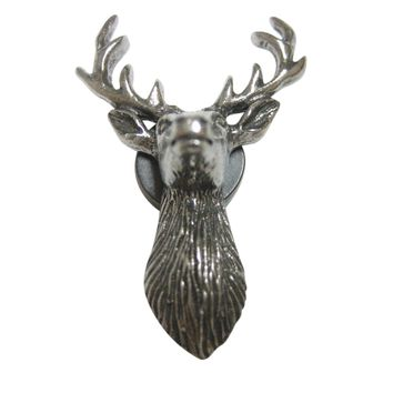 Silver Toned Textured Stag Deer Head Magnet