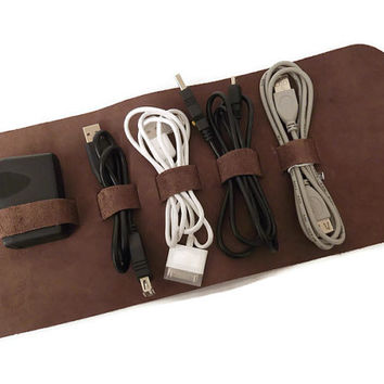 Leather Cable Holder, Cable Organizer, Cord Wrap, Travel Case, Travel Roll Up Case, iPhone Charger Roll, Earphone Holder, Full Grain Leather