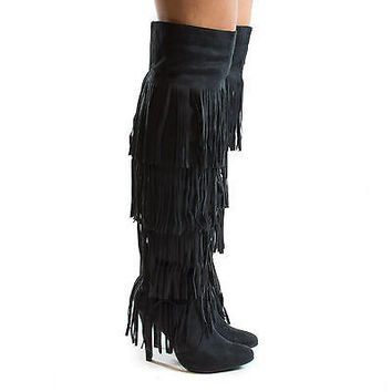 HighPoint02H Black F-Suede by Nature Breeze, Thigh High Western Fringe Stiletto High Heel Boots