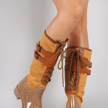 Double Buckled Strap Lace Up Rain Boots