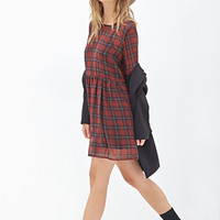 FOREVER 21 Plaid Chiffon Babydoll Dress Black/Red