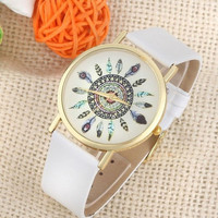 Womens Vintage Feather Dial Leather Band Quartz Analog Unique Wrist Watches+ Gift Box